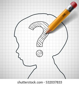 Pencil drawing a question mark in the child head. Stock illustration.