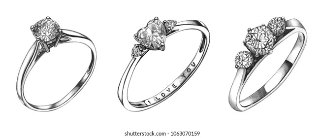 Pencil drawing of ring with diamond. Isolated sketch. Wedding jewelry illustration
