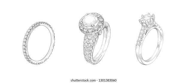 Pencil drawing of rings with precious stones on a white background. Isolated sketch. White background with hand-painted rings with diamonds. Sketch of 3 rings in one drawing. Advertising material