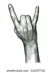 pencil drawing of Rock hand sign