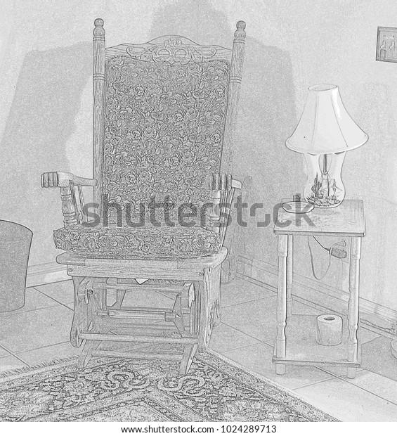 Stupendous Pencil Drawing Rocking Chair Corner Table Stock Illustration Download Free Architecture Designs Rallybritishbridgeorg