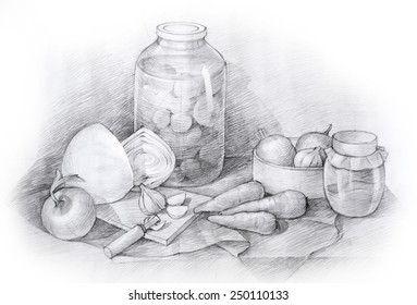 Pencil drawing of a sea still life with vegetables
