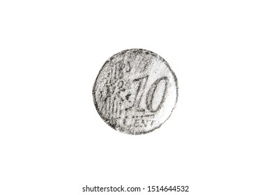 Pencil drawing ten euro cent coin on white background