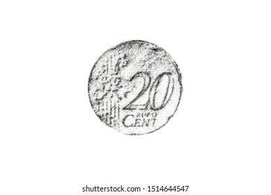 Pencil drawing twenty euro cent coin on white background