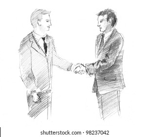 pencil drawing of a two businessmen shaking hands