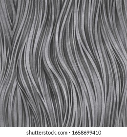 Pencil drawing vertical black and gray wavy lines seamless pattern. Artistic Wavy background. Hand drawn Textured Monochrome template for desing, ceramics tile.