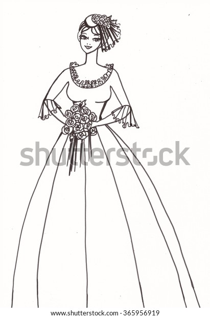 Pencil Drawing Wedding Dress On Beautiful Stock Illustration 365956919