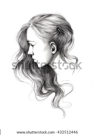 Pencil Drawing Young Beautiful Girl Portrait Stock Illustration