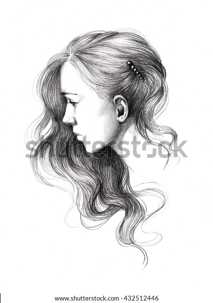 Pencil Drawing Young Beautiful Girl Portrait Stock Illustration 432512446