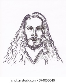 Pencil drawings portraits of masters. Biography cards. Black and white hand drawn lines. Albrecht Durer, painter.
