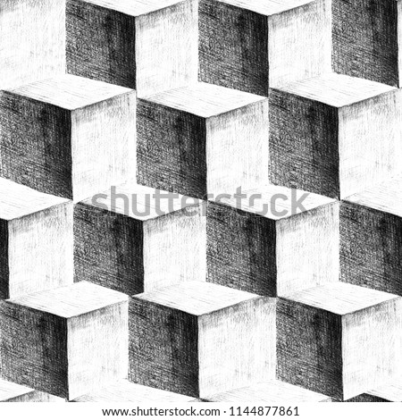 Pencil drawn 3D cubes seamless geometric background. Hand drawn repeating illustration