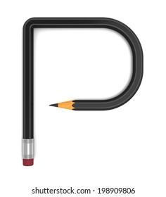 Pencil font 3d Collection, letter P