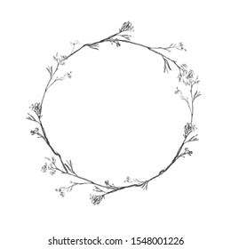 Pencil hand drawn painting of wooden wreath with berries bacground hand draw pattern