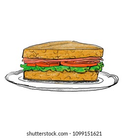 Pencil illustration of fresh BLT sandwich with bacon lettuce and tomato served on plate