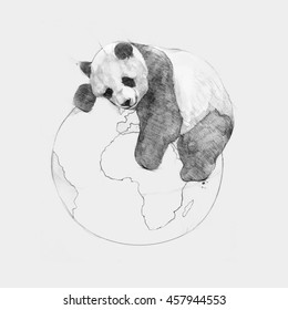 Pencil illustration, hand graphic - Heppy Earth Day. Panda sleeps on planet earth