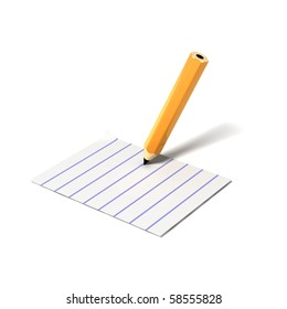 pencil on document icon on white background