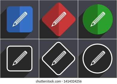 Pencil set of flat design web icons in 6 options