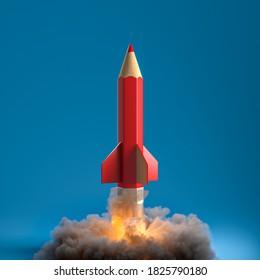 Bleistift in Form einer Rakete mit Rauch und Flammen. Kreativität und Startup-Konzept. 3D-Rendering.