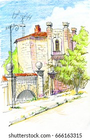 Pencil sketch of Ancient city landscape. Drawing with colored crayons. Hatching. Sevastopol, Crimea. A beautiful illustration for the cover of   sketchbook