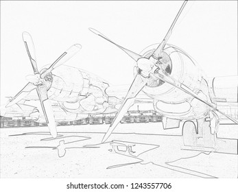 Pencil sketch of bomber engines and wing