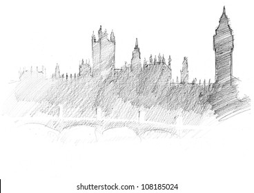 pencil sketch of a center of London: Parliament, Themes, Bridge