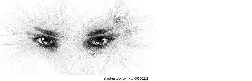 Pencil sketch face silhouette woman eyes looking at camera aside on white background copy space for your conceptual text advertisement. Image digitally altered digital effects