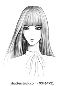 pencil sketch of a fashionable brunette girl