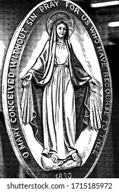 pencil sketch illustration of Medal of Our Lady of Graces