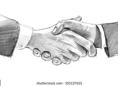 Pencil sketch of mans` handshake