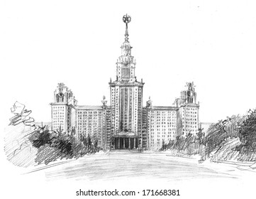 Pencil sketch of Moscow State University named after M.I. Lomonosov