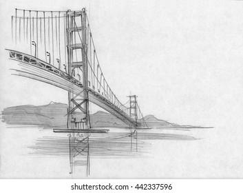 Pencil sketch of San Francisco bridge, California