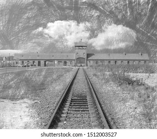Pencil Sketch of the train tracks leading to The Gate of Death, Birkenau