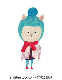 pencil and watercolor drawing of a cat in a winter clothing