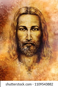 pencils drawing of Jesus on vintage paper and softly blurred watercolor background.