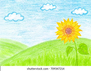 """Pencils handmade drawing """"Sunflower on the hills"""", colorful self-drawn picture, art hobby wallpaper"""