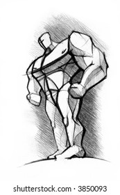 pencil's sketch of the athlete