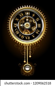 Pendulum clock in the style of steampunk, gold and  brass gears on a black background.