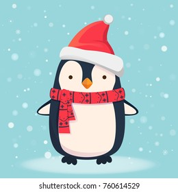Penguin cartoon illustration. Penguin in scarf and hat