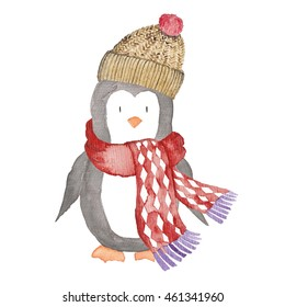 Penguin Christmas Animals Winter Watercolor Illustration Hand Painted Isolated