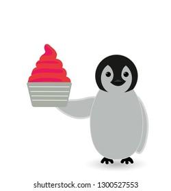 penguin enjoying a cup ice cream