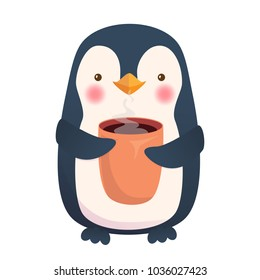 Penguin holding cup of coffee. Cute animal