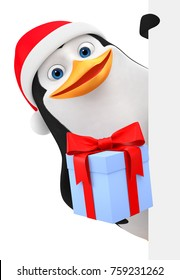 Penguin in a red hat gives a gift. 3d rendering. Christmas illustration.