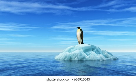 A penguin sits on an iceberg in the middle of the ocean. This is a 3d render illustration