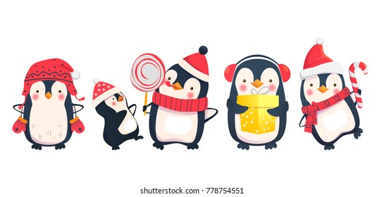 Penguins cartoon illustration. Christmas penguin characters.
