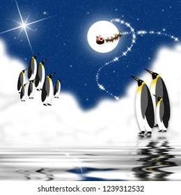 Penguins grouped together as they watch on a stary night in the Artic Santa flying with his reindeer in front of the moon.  Shades of blue graphic illustration.