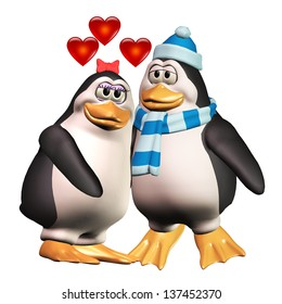 Penguins Penguins in Love. Two cute cartoon penguins snuggle up together with hearts floating above them.