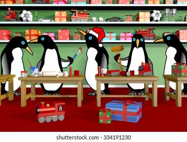 Penguins making toys for Christmas in Santa's Workshop