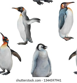 Penguins seamless pattern. Watercolor hand drawn illustration.