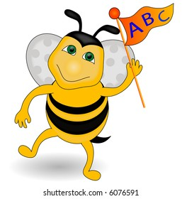 Pennant with ABC being held by a bee.