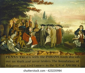 Penn's Treaty with the Indians, by Edward Hicks, 1840-44, American painting, oil on canvas. William Penn entering into peace treaty in 1683, with Tamanend, a chief of the Lenape Turtle Klan Delaware